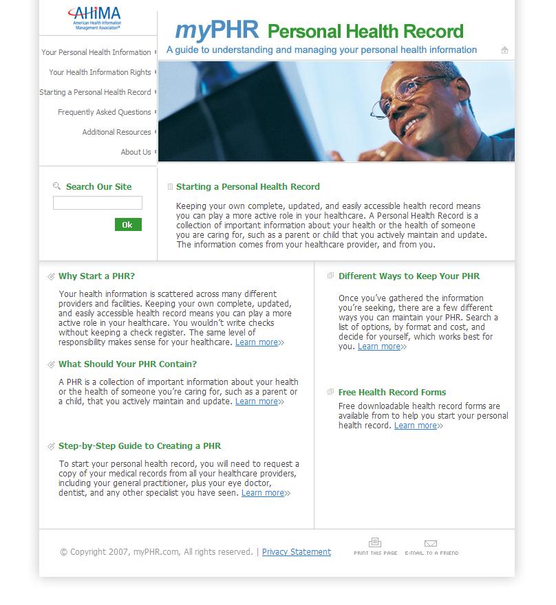 myphr personal health record 5th note design studio